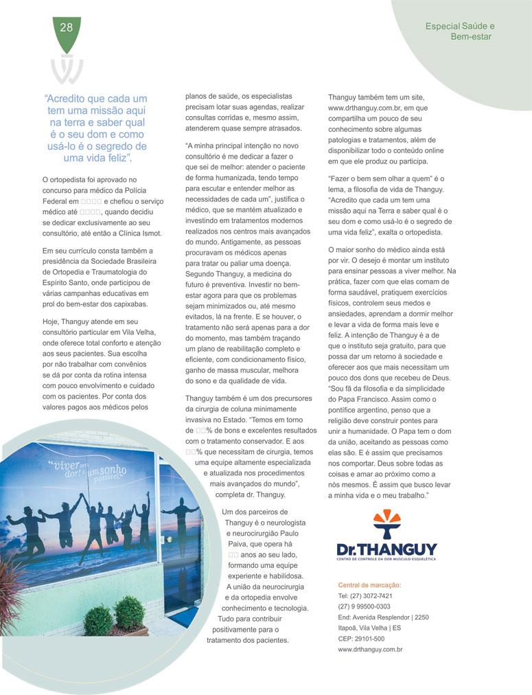 Entrevista do Dr. Thanguy para a revista Welcome Planet.